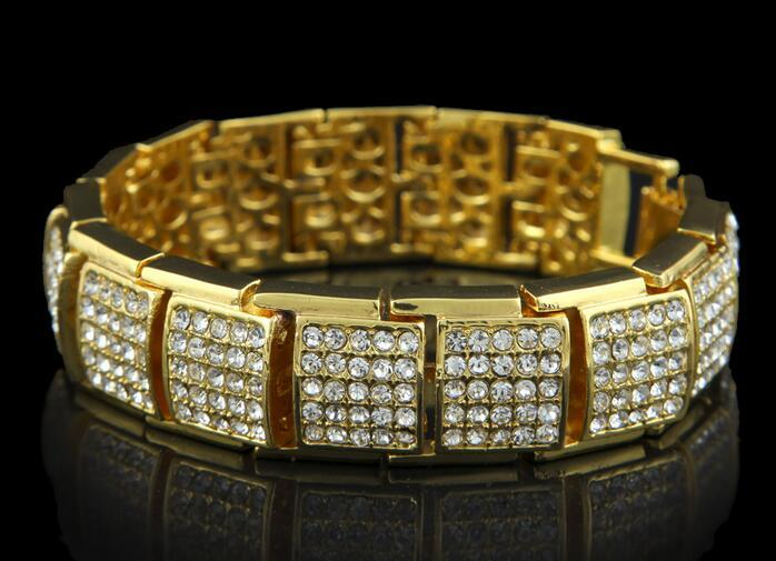 9 Styles Fashion Design Bracelets Luxury 18K Gold Plated Chain Full Diamond Hip Hop Bracelet Fine Jewelry Lover Gift