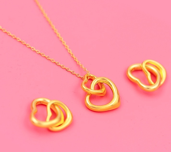 New 24k 18k Yellow Gold Heart Pendant Locket Necklaces For Women Jewelry Fashion Necklace Christmas Gift
