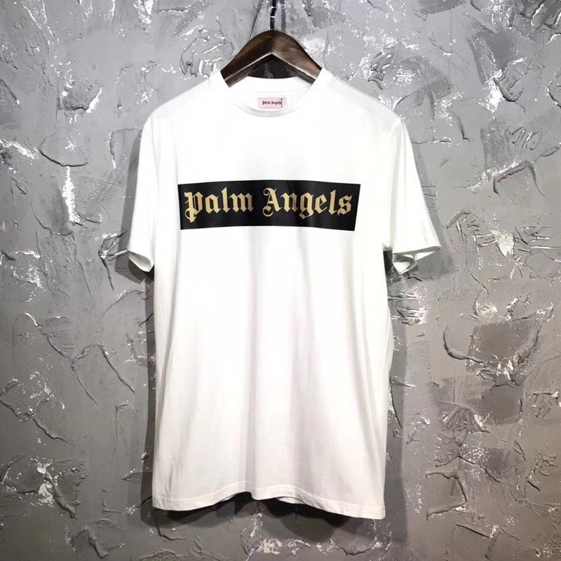 Palm Angels логотип тройник классический роскошный повседневная простой сплошной цвет коробка с коротким рукавом Мужчины Женщины улица скейтборд лето прохладный футболка HFYMTX238