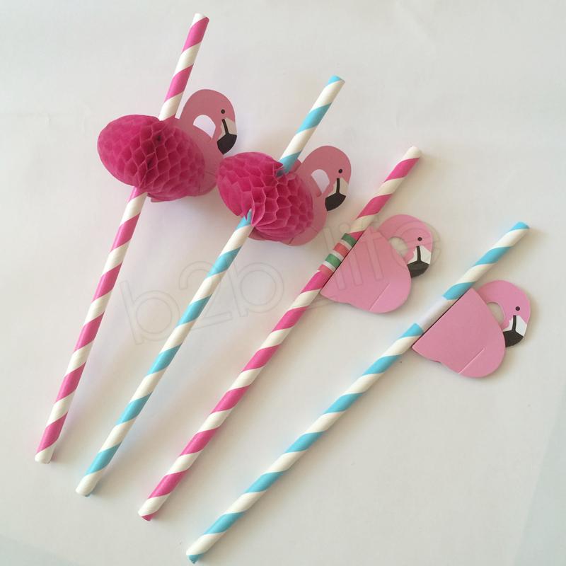 3D Flamingo Straw Bendy Flexible Plastic Cocktail Drinking Straws bar Kids Birthday Wedding Pool Party Decoration Baby Feeding GGA1096