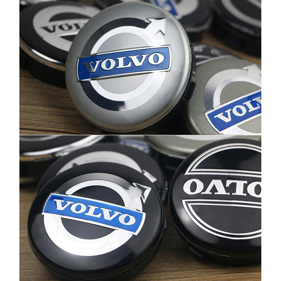 Hub Centre Cap Badges Silver//Silver 60mm Volvo Wheel Alloy Center Caps Set Of 4