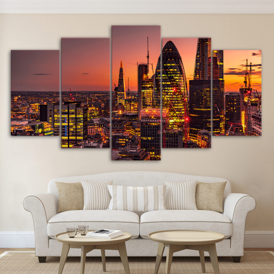 Canvas Modular Pictures Frame Wall Art 5 Panel London Lights City Building HD Print Painting Fashion For Living Room Deco Poster