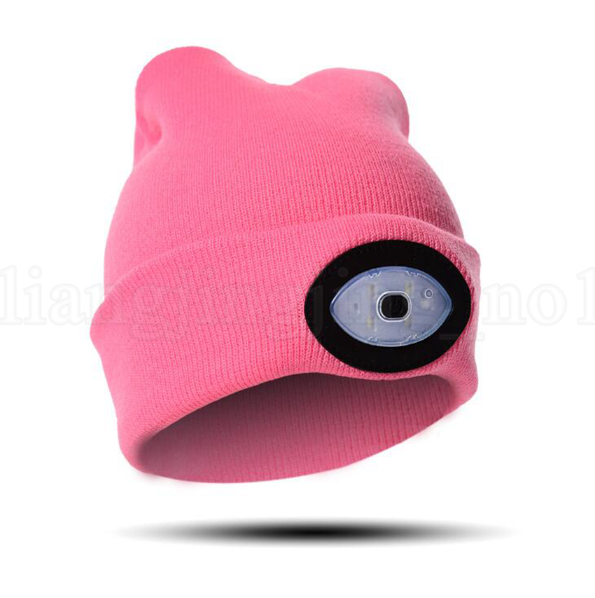 6 LED Headlamp Beanie Cap Rechargeable Lighted Hat With LED Head Light Flashlight For Outdoor Evening Sport Camping Party Hats OOA5646