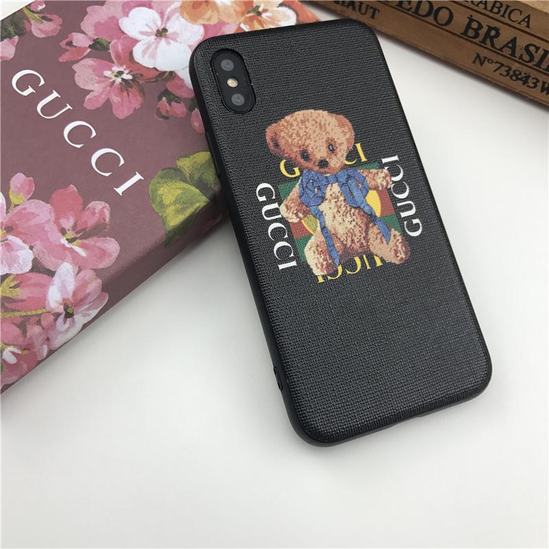 Cas de téléphone de concepteur avec ourson en carton mignon pour IphoneX 7P / 8P 7/8 6 / 6sP 6 / 6s Personnalité créative populaire Couverture arrière 3 styles disponibles