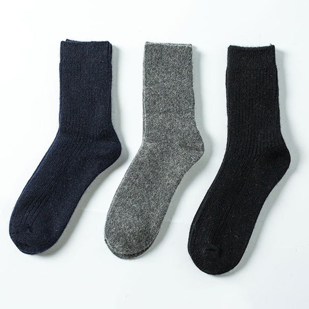 Men Solid Color Autumn Winter Warm Breathable Thick Wool Long Socks