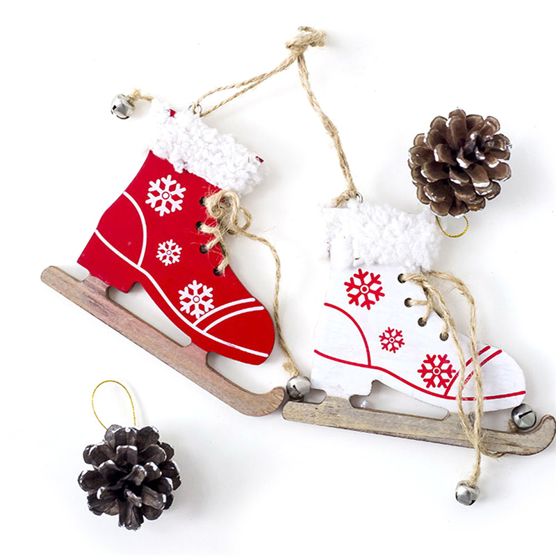 Snowfake Pattern Wooden Sleds Boots Christmas Tree Ornament Xmas Hanging Pendant Christmas Navidad Decor For Home Random Y18102609