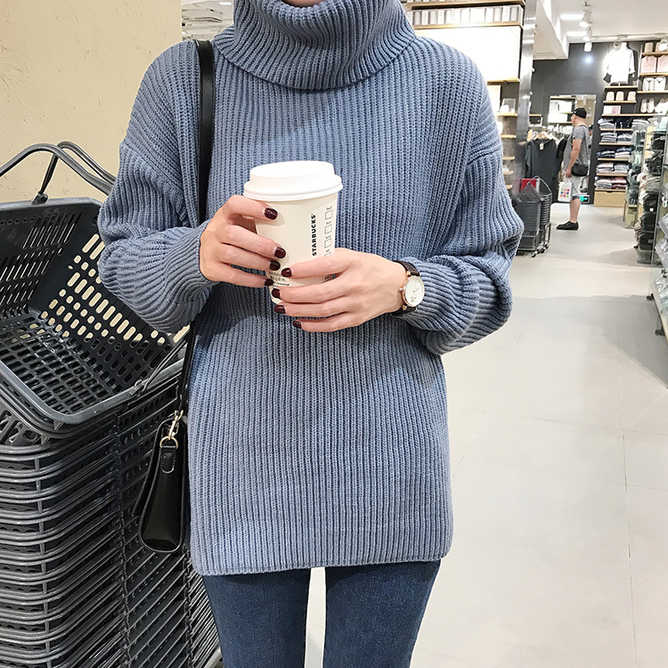 d3ecacf31683c Korean Simple Basic Winter Knitted Sweaters Women Fashion Turtleneck  Pullover Sweater Female Casual All-match