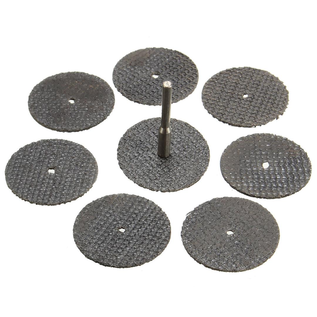 100pcs Fiberglass Reinforced Cut Off Wheel Discs Rotary Tool 32mm + 1pc Mandrel Mayitr Abrasive Cutting Grooving Tools