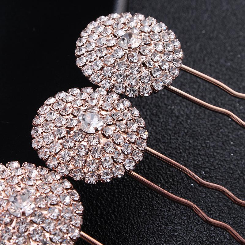 Yeni yuvarlak kakma rhinestone Saç çatal 4 takım topuz altın alaşım basit gelin tiara düğün takı toptan