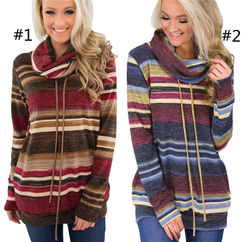 Wommen Striped Heap Collar Hooded Sweatshirt with Pockets Casual Fall Long Sleeves Turtleneck shirts Drawstring striped Hoodies GGA1063