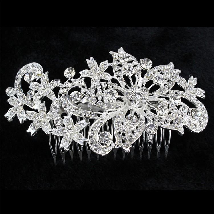Bridal-Wedding-Jewelry-Crystal-Rhinestone-Duo-Flowers-Hair-Comb-Silver