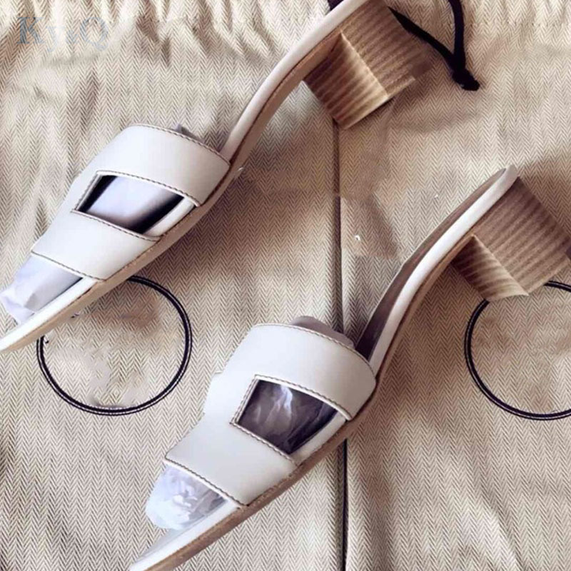 ef21b07600a Luxury brand new thick heels slippers cut out summer beach sandals Fashion women  slides outdoor indoor