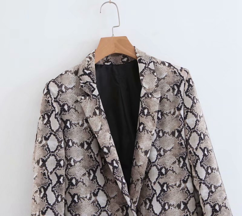 Womens Blazers Long Sleeve Snake Skin Print Long Style Hidden Breasted Ladies Blazers Women Streetwear Outwear S M L (20)