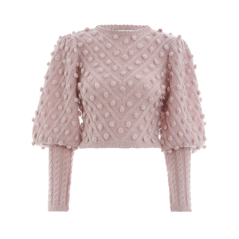 TWOTWINSTYLE Lantern Sleeve Women's Sweater Short Tops High Waist Ball Knitting Pullover For Female Vintage Fashion Clothes 2018 S18100903