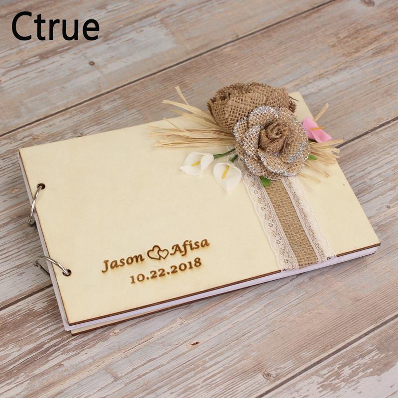 Personalizado De Boda Libro De Visitas Bautizo Memorial Scrapbook álbum de madera