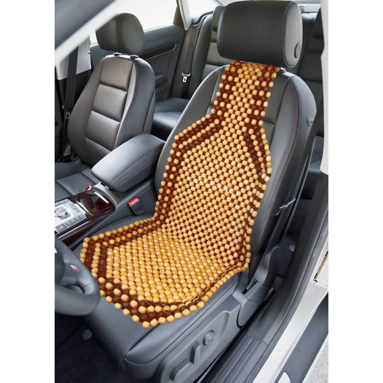 Zone Tech 2x Two Tone Natural Wooden Massage Car Seat Office Chair Beaded Cushion (2)