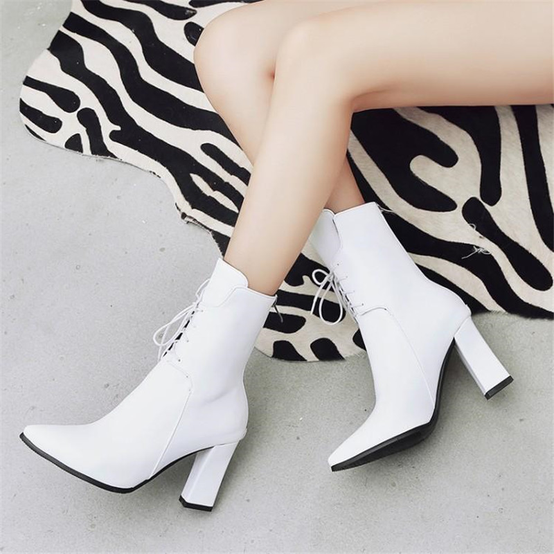 Brand Designers 2018 New Winter Women Shoes Black High Heels Riding Boots Lacing Platform Ankle Boots Chunky Heel Big Size 32-43 (25)