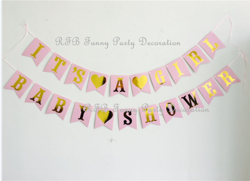 Baby Shower Decoration Kit IT'S A GIRL/BOY Garland Bunting Banner Confetti Balloons Paper Pom Pom Flowers Party Favor Supplies