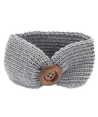 Baby Girls Fashion Wool Crochet Headband Knit Hairband with Button Decor Winter Newborn Infant Ear Warmer Head Headwrap