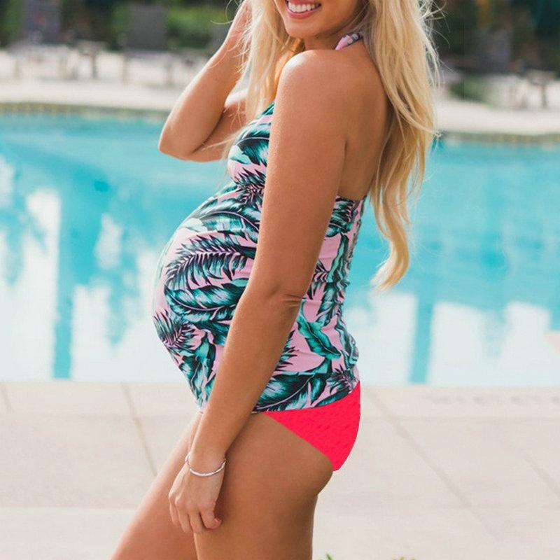 Maternity Women Swimwear Tankini Floral Pregnancy Swimsuit Suits Beach Summer Bikini Bathing Sexy Clothing For Pregnant Women (2)