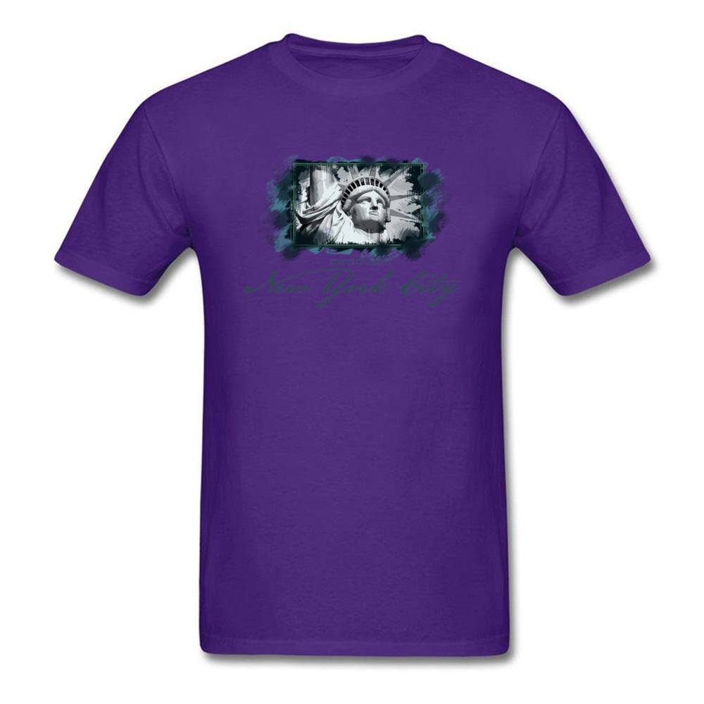 Tops Shirts Birthday Top T-shirts Summer Autumn 2018 New Fashion Group Short Sleeve 100% Cotton O Neck Men T Shirts Group New York City Statue of Liberty purple