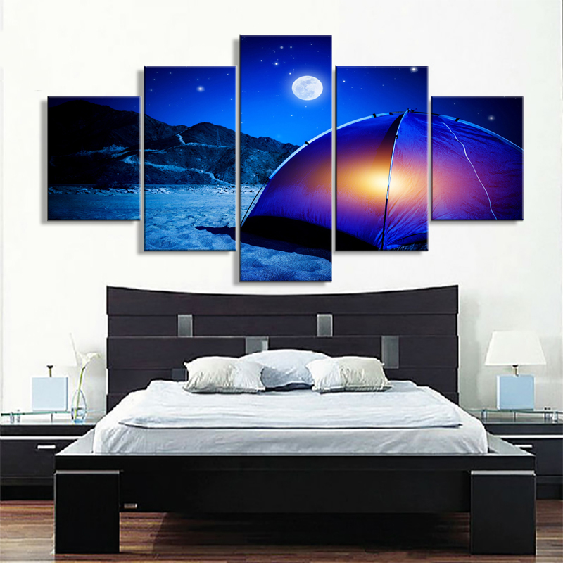 Canvas Wall Artwork Posters Prints Frame 5 Panel Camping Landscape Canvas Painting Wall Pictures For Living Room Home Decoration