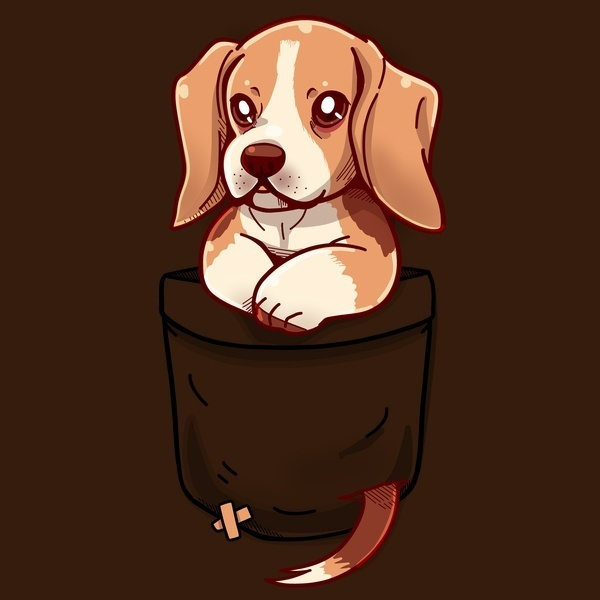 Pocket Cute Beagle Large size men's short-sleeved loose comfortable breathable sweat-absorbing personal printing cotton puppy cartoon t shir