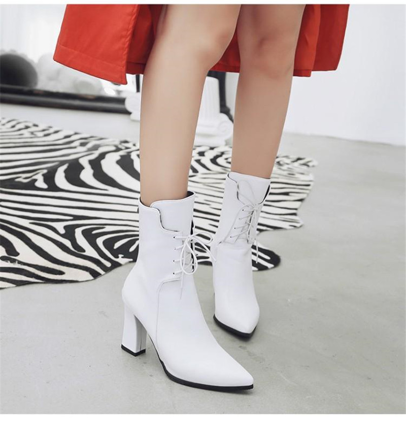 Brand Designers 2018 New Winter Women Shoes Black High Heels Riding Boots Lacing Platform Ankle Boots Chunky Heel Big Size 32-43 (29)