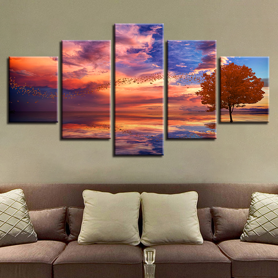 Canvas HD Prints Poster Home Decor Frame Abstract Lake Of Sunset Tree Scenery Paintings Modular Anime Pictures Wall Art