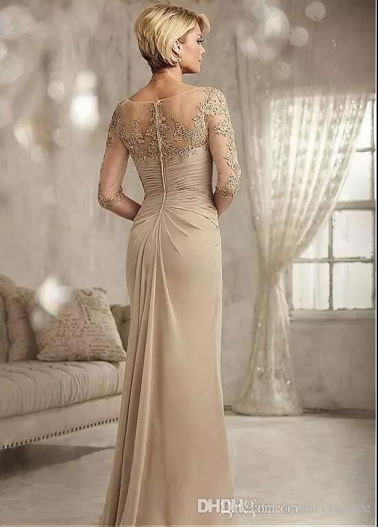 Champagne Mother Of The Groom Dresses Long 2017 Scoop Neck Chiffon Wedding Guest Dress Half Sleeves Formal Evening Gowns