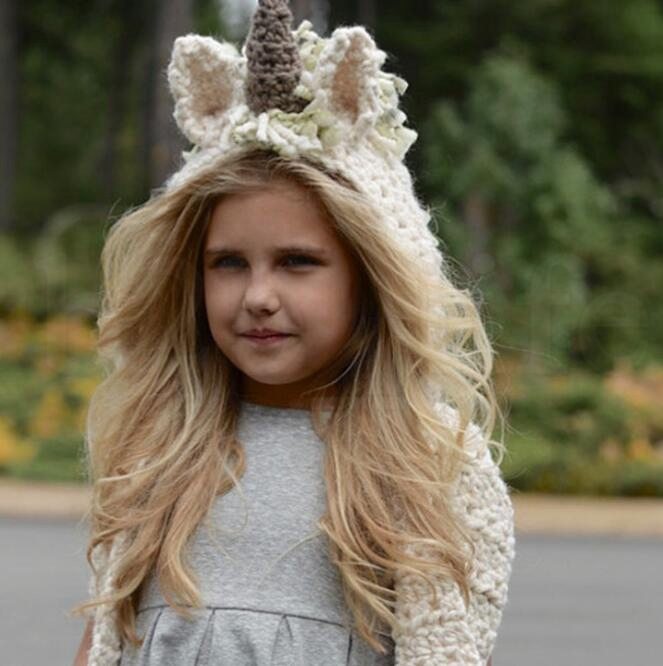 4 niñas de colores Unicornio bufanda Sombrero de invierno Abrigo Unicornio Gorras Lindo otoño Cálido Niños Lana de punto con capucha bufanda 3-10 años KKA6023