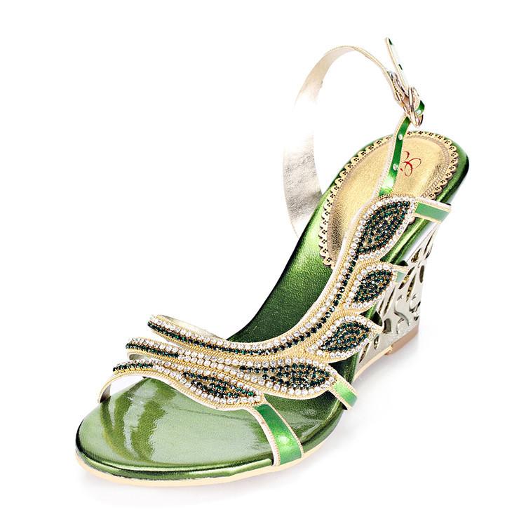 2016 Summer New Luxury Diamond Shoes Women 8cm High Heels Sexy Wedge Sandals Big Size 1111