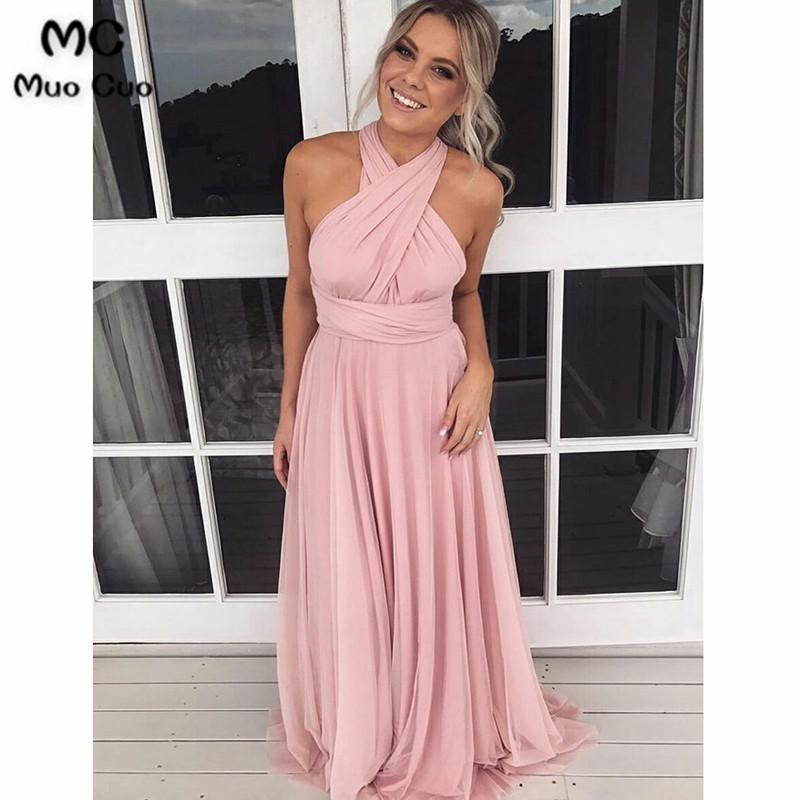 A-Line Cross Neck Sweep Train Pink Chiffon Convertible Bridesmaid Dress