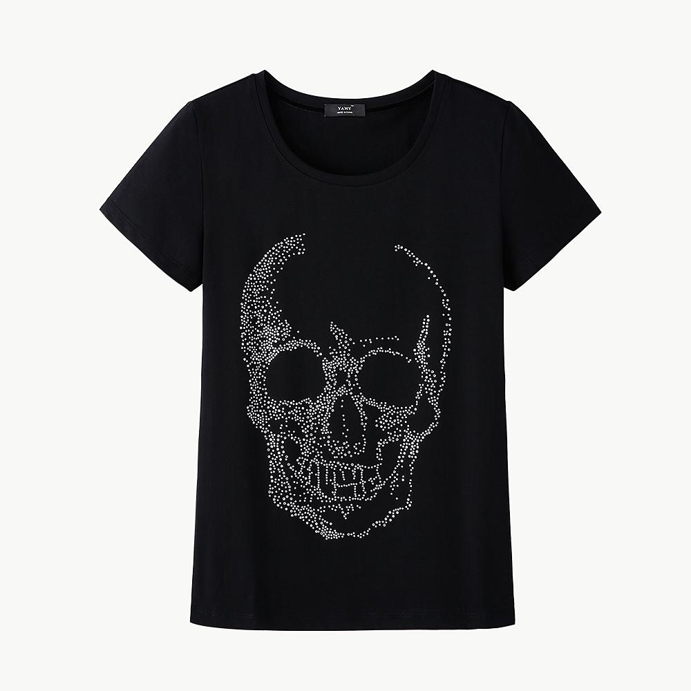 Camicia DA DONNA STRASS TESCHIO FIOCCO ROSA Cute Skull Grandi Dimensioni Oversize NUOVO