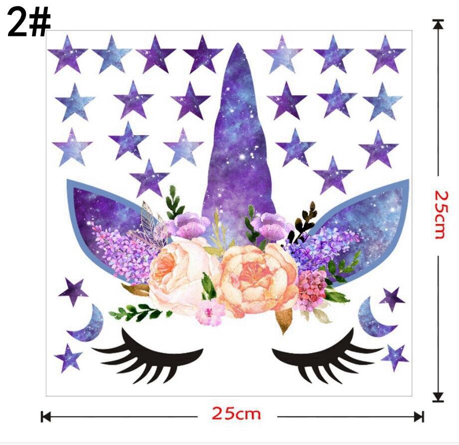 3 estilos DIY estrella de la historieta del unicornio etiqueta de la pared estrellas flor Kids Bedroom calcomanías cartel papel pintado pegatinas de arte sala de estar decoración FFA999