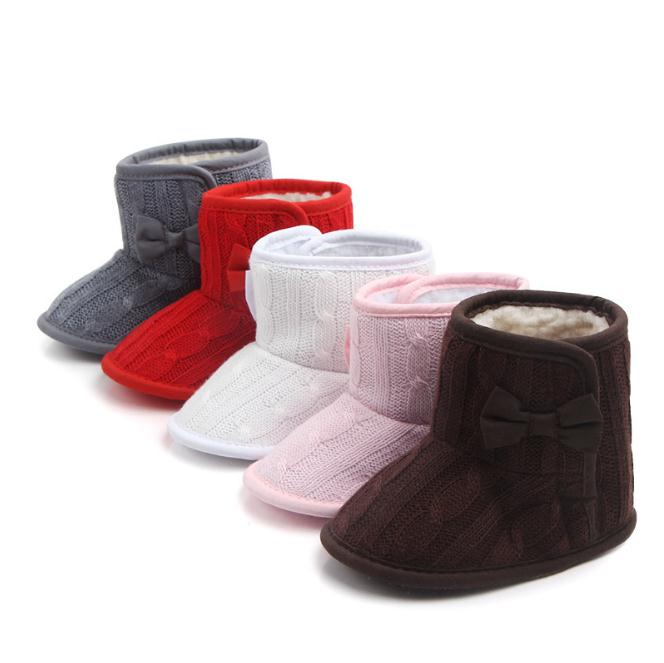 Baby Infant Crochet Knit Fleece Boots Toddler Girl Boy Wool Snow Crib Shoes Winter Warm Booties First Walkers 2018 New