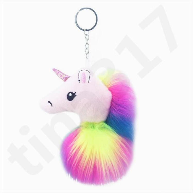 Новый плюшевый единорог кукла брелок волос мяч ключ пряжки кулон искусственная шерсть Леди сумка ключи от машины аксессуары T7C080