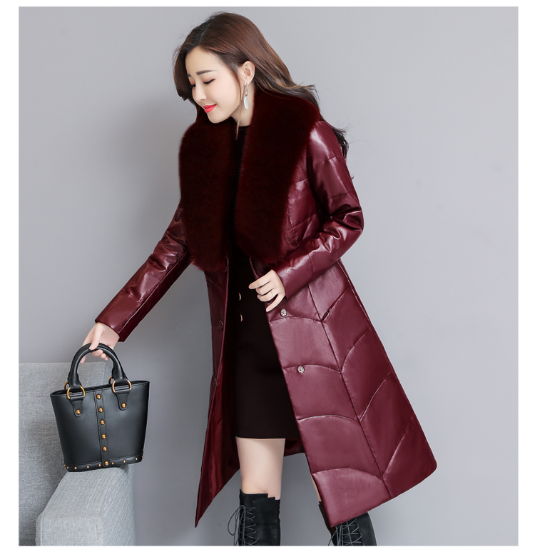 7253 Genuine Leather Jacket Women 2018 Winter Warm Down Faux Fur Coat Plus Size Long with Fox Fur Collar Elegant Luxury Coat Women 9