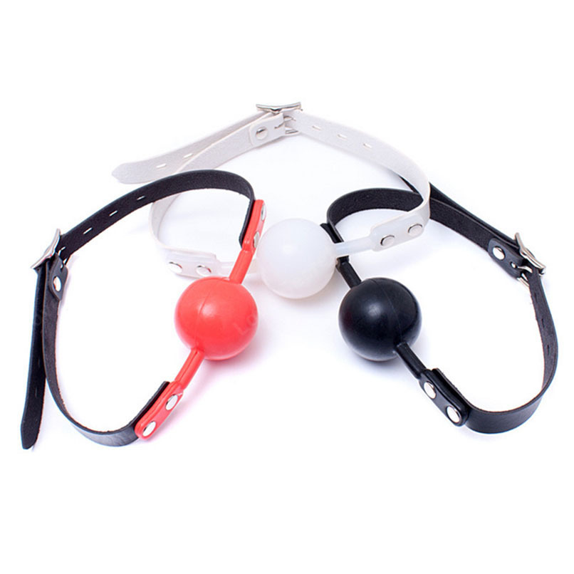 48MM PU Leather Erotic Toys BDSM S&M Silicone Ball Gag Mouth Gag Sex Toy Sex Bondage Slave Gag for Couples in Adults Games