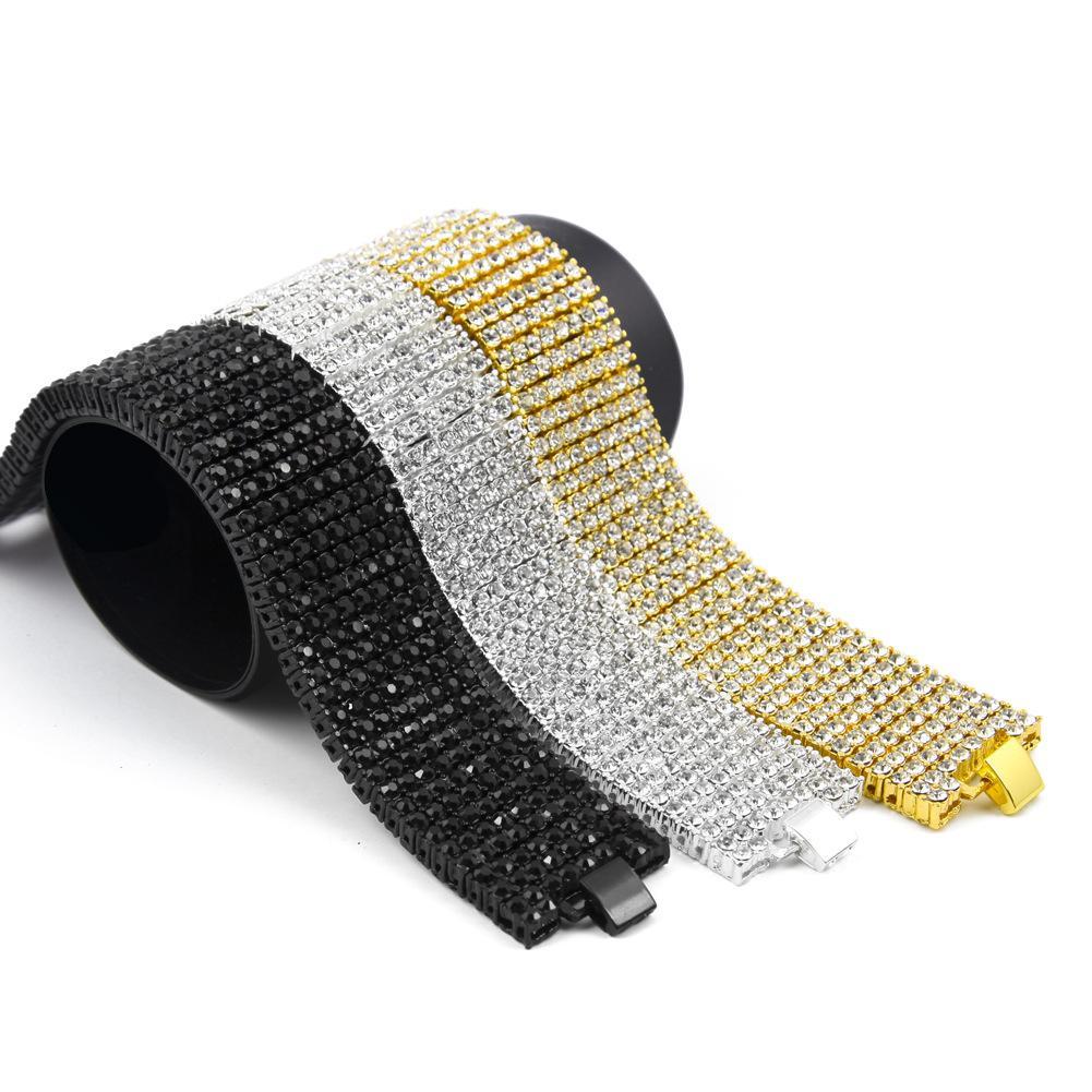 Luxury 18K Gold Plated Chain 8 Rows Diamond Hip Hop Bracelet Fashion Design Men Bracelets Fashion Jewelry Party Gift