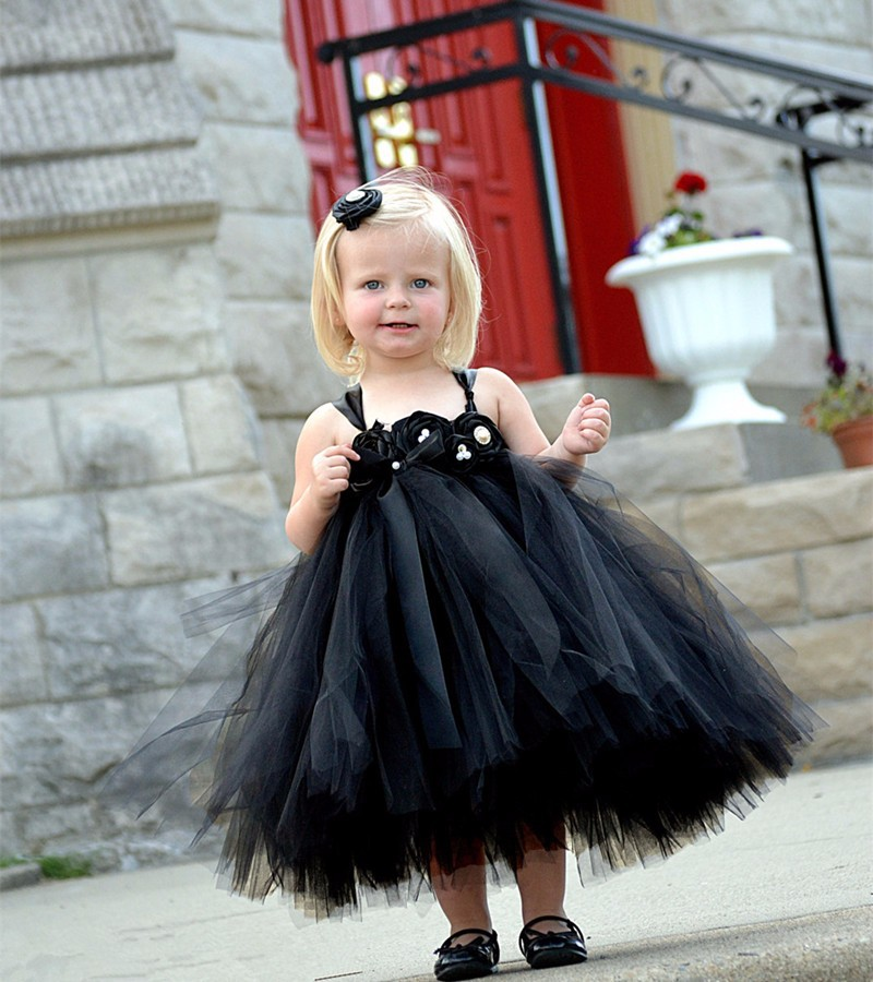 Black Ball Gown Custom Cute Tulle TUTU Flower Girl Dress Tea Length Hand Made Flowers Bows Kids Prom Birthday Dress Cheap