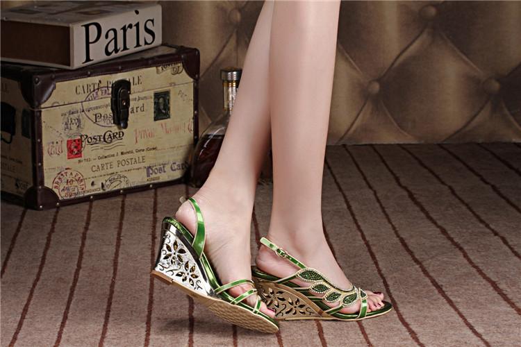 2016 Summer New Luxury Diamond Shoes Women 8cm High Heels Sexy Wedge Sandals Big Size 116