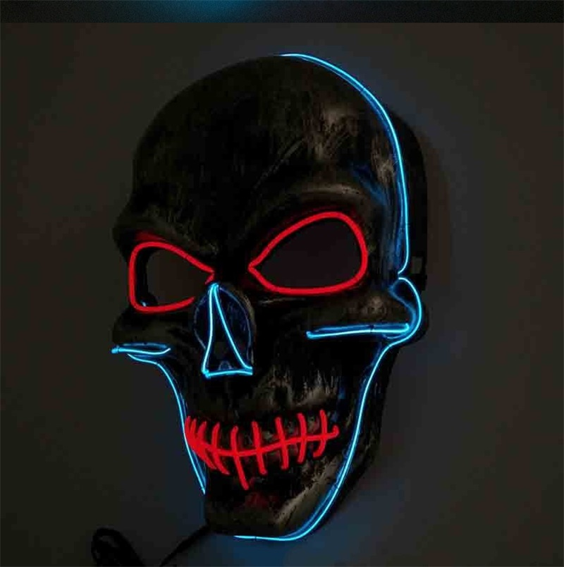 Halloween Lip Sewing Skull Face Purge Mask LED Cold Light Up Decoration Dancing Party EL Masquerade Masks For Adults Men 18tc WW