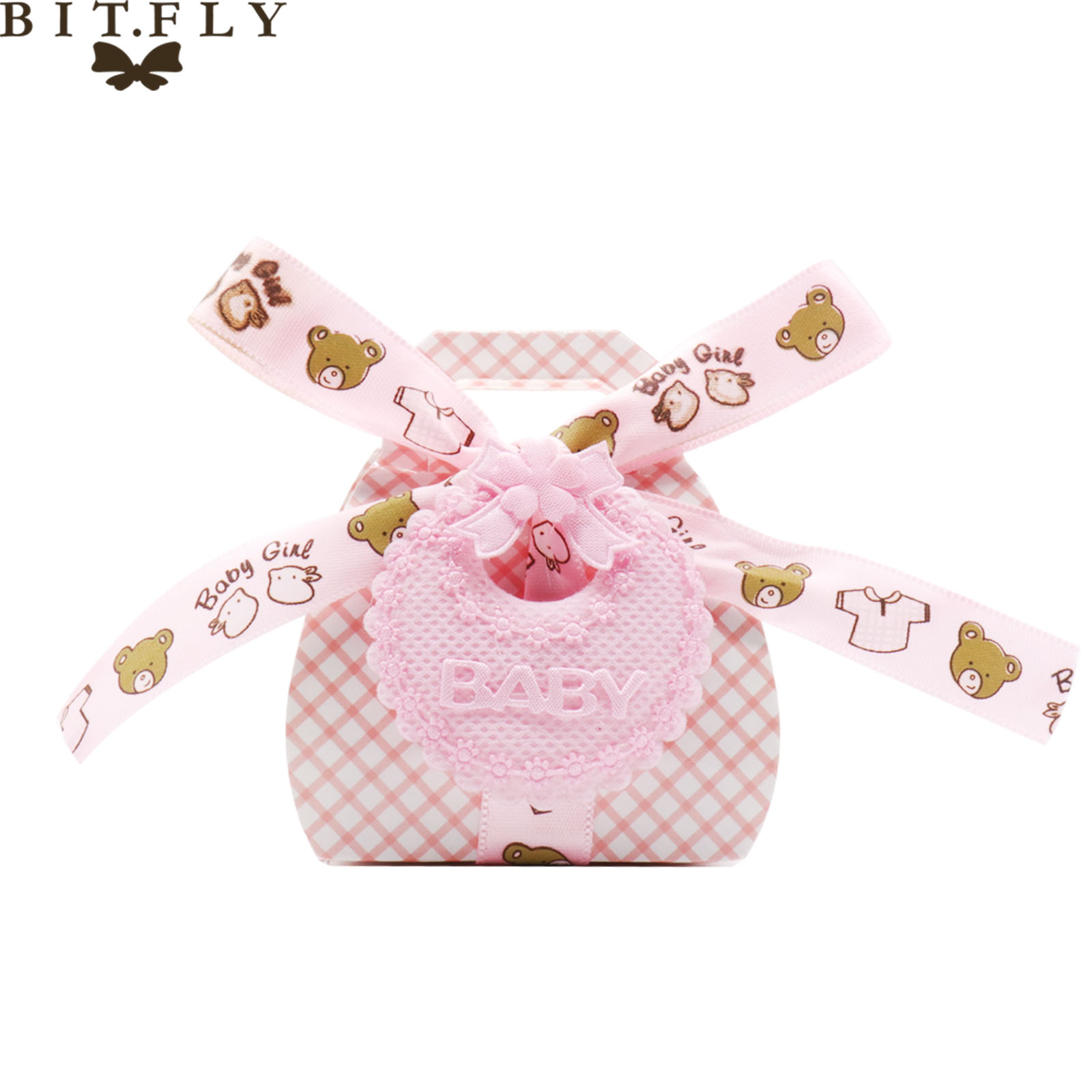 BITFLY Pink/blue Cute Cartoon bear paper candy bag Baby shower gift candy box Kids birthday party DIY decorations supplies