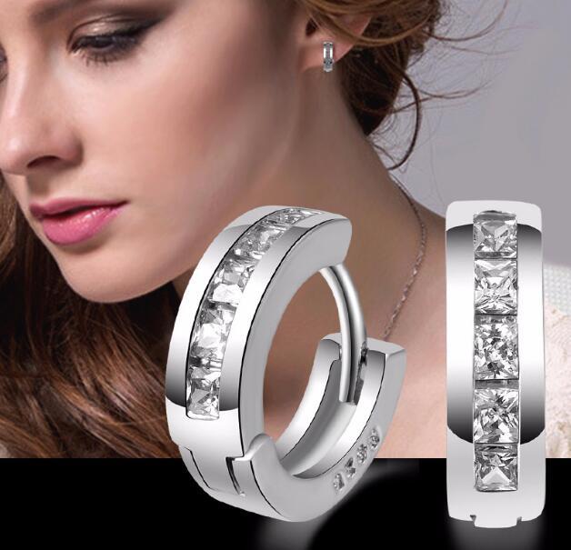 2018 vente chaude fille Madame boucles d'oreilles placage de luxe en argent sterling Platine 925S argent or carré zircon cristal boucle d'oreille