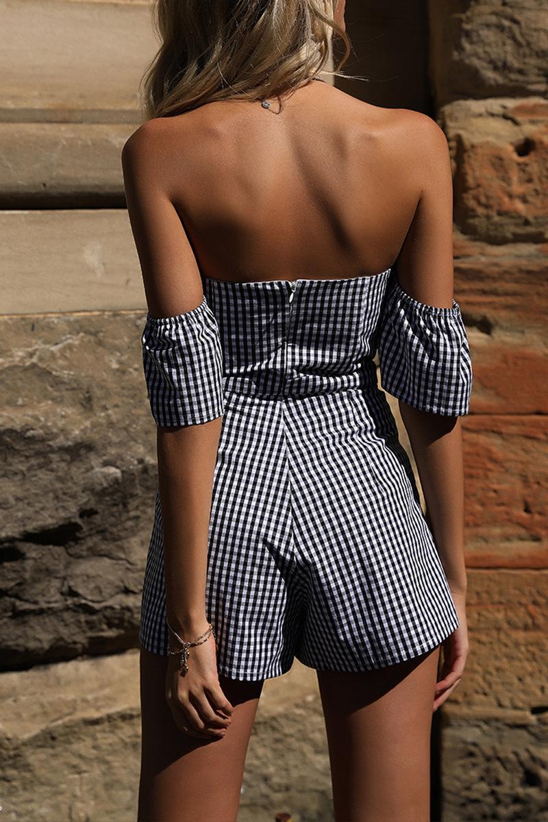 323b0573a1b 2018 Summer Off shoulder plaid jumpsuit romper women Sexy backless bow high  waist playsuit female beach short overalls