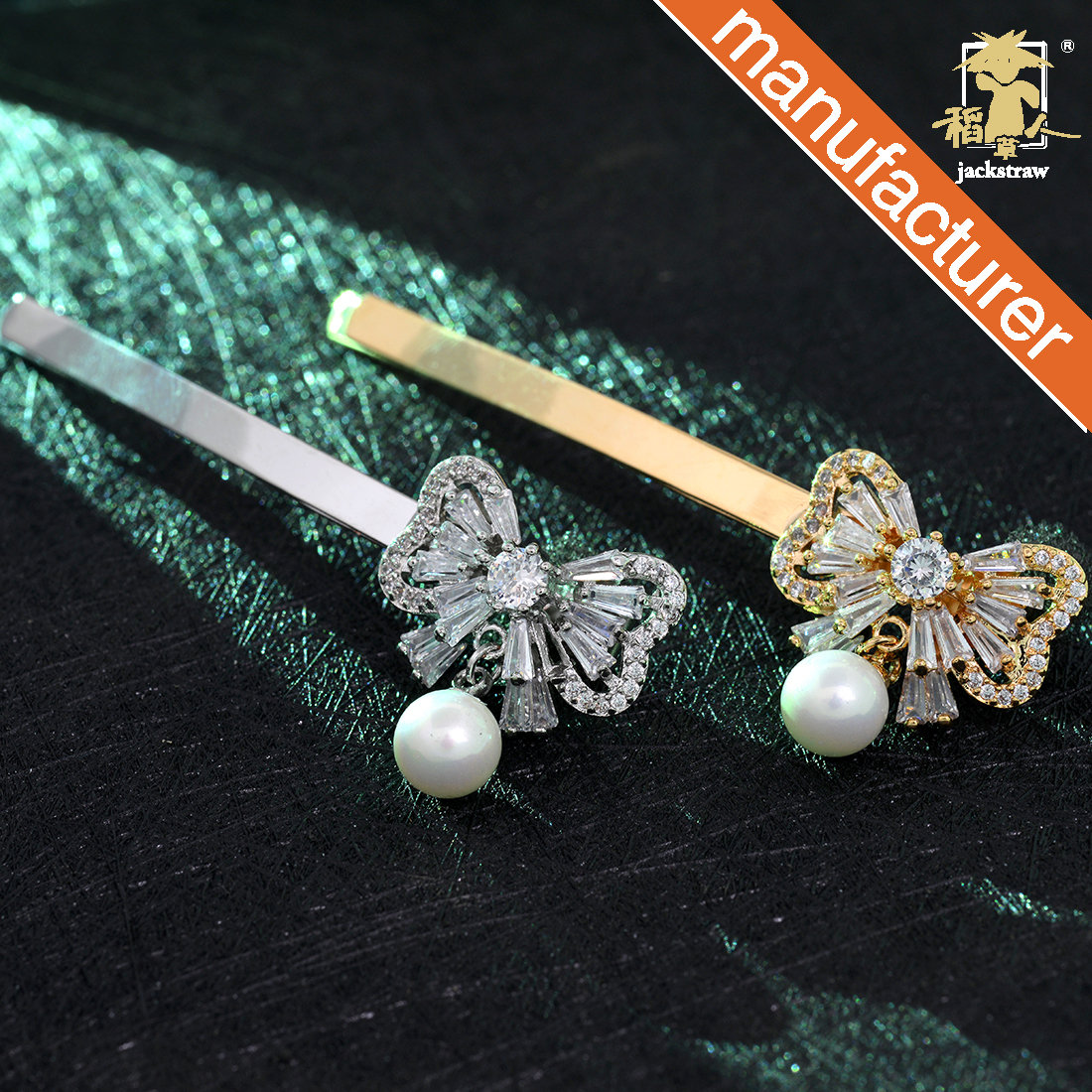 Diamond and Pearl studded Butterfly hair clips for girls in gold metal