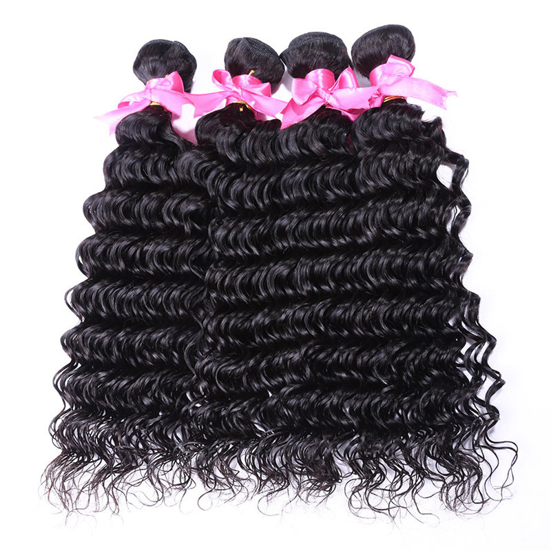4 Bundles Malaysian Human Hair Weaves Black Deep Wave Hair Weft Women Hair Extension Hot Sell