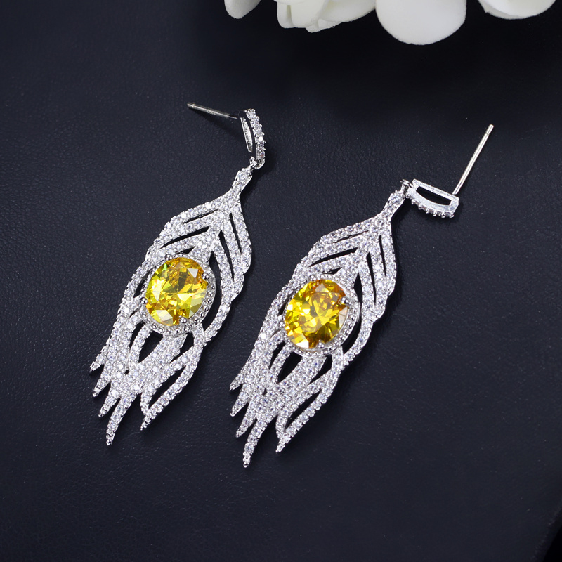 Yellow Crystal Earrings 3