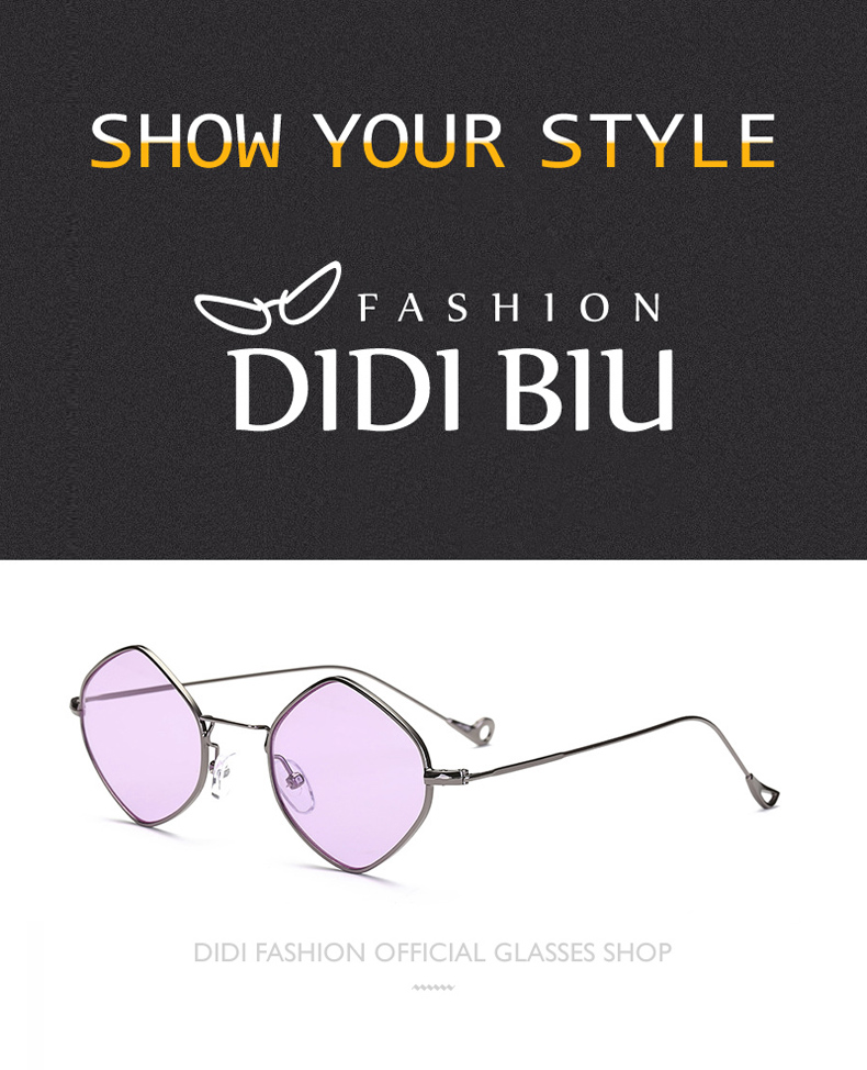 2a3680490f43 DIDI Triangle Sunglasses Women Luxury Brand Designer Pink Flat Lens Gold  Frame Eyewear Ladies Top Grace Hippie Glasses Oculos W726